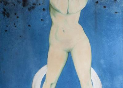 Figurative painting of a naked women symbolising the celtic goddess Condwiramur