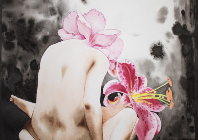 aquarell painting of two human figures with flowers as heads having sex