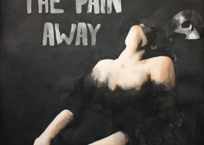 painting woman with skull as an ode to peaches song fuck the pain away
