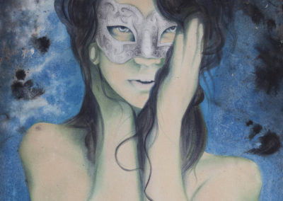 Detail of painting titled Condwiramur a celtic goddess by Jasmina Kirsch