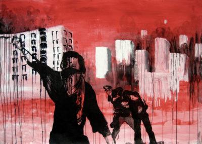 red black painting rebellious teens fighting police