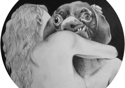Drawing of a woman hugging a man with misformed dog-head