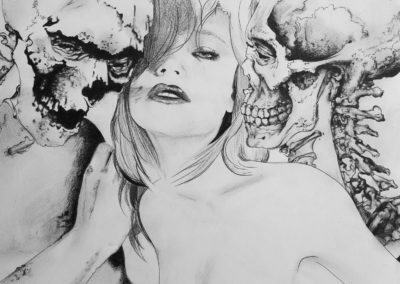 Pencil drawing by Jasmina Kirsch of a naked girl wth two skeletons