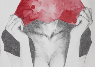 Drawing of a woman holding what appears to be her exploded face