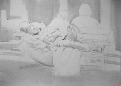 artwork drawing homeless man bench