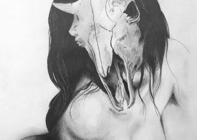 Pencil and ink drawing of a woman with a skull as head