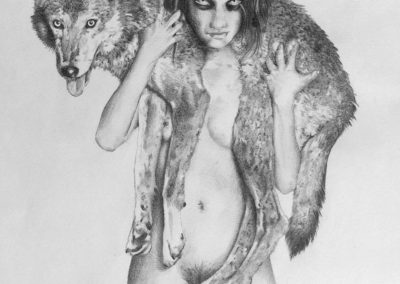 Drawing of a naked woman with a wolf on her shoulders
