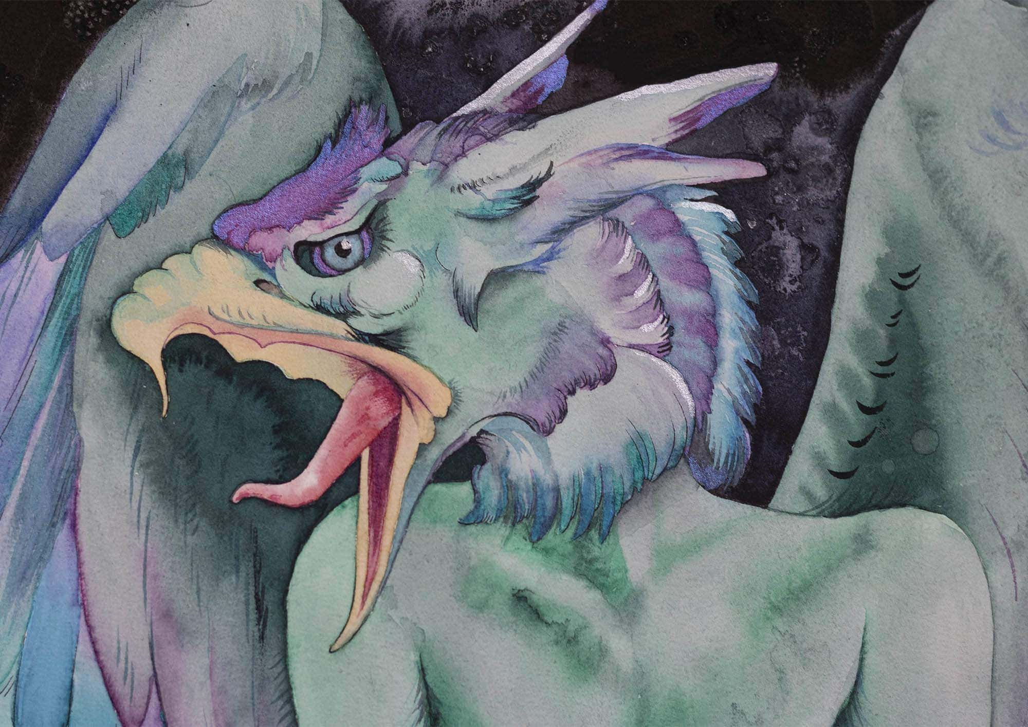 Detail of aquarelle painting of a gargoyle by Jasmina Kirsch