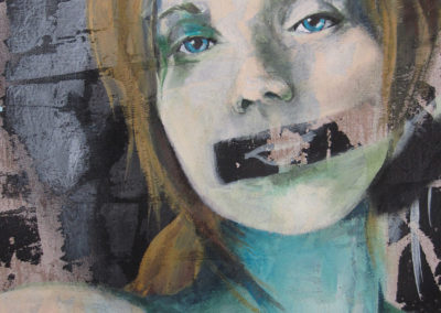 detail of a painting of a womans face with her mout taped shuth
