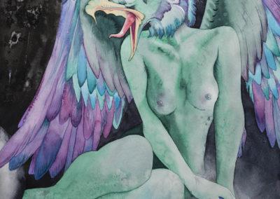 Colorful aquarelle painting of a female gargoyle