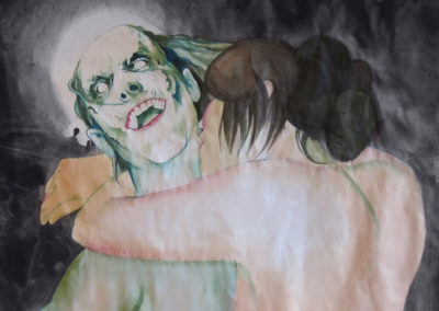 painting of a girl lovingly sucking the neck of a zombie