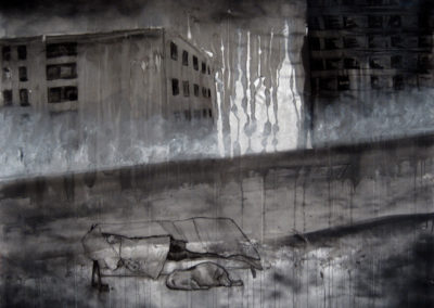 artwork of homeless man on a bench in front of apartment buildings